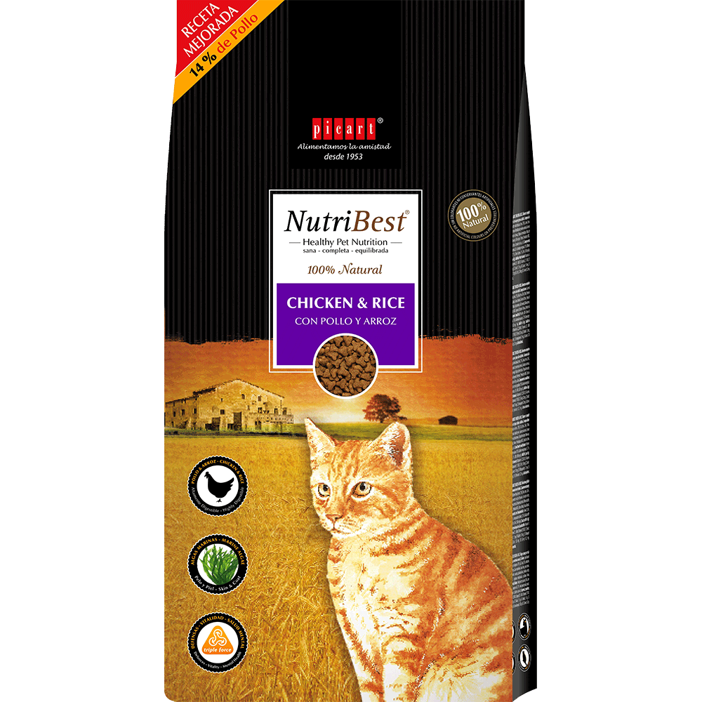 alimento natural para gatos NutriBest Cat Chicken & Rice
