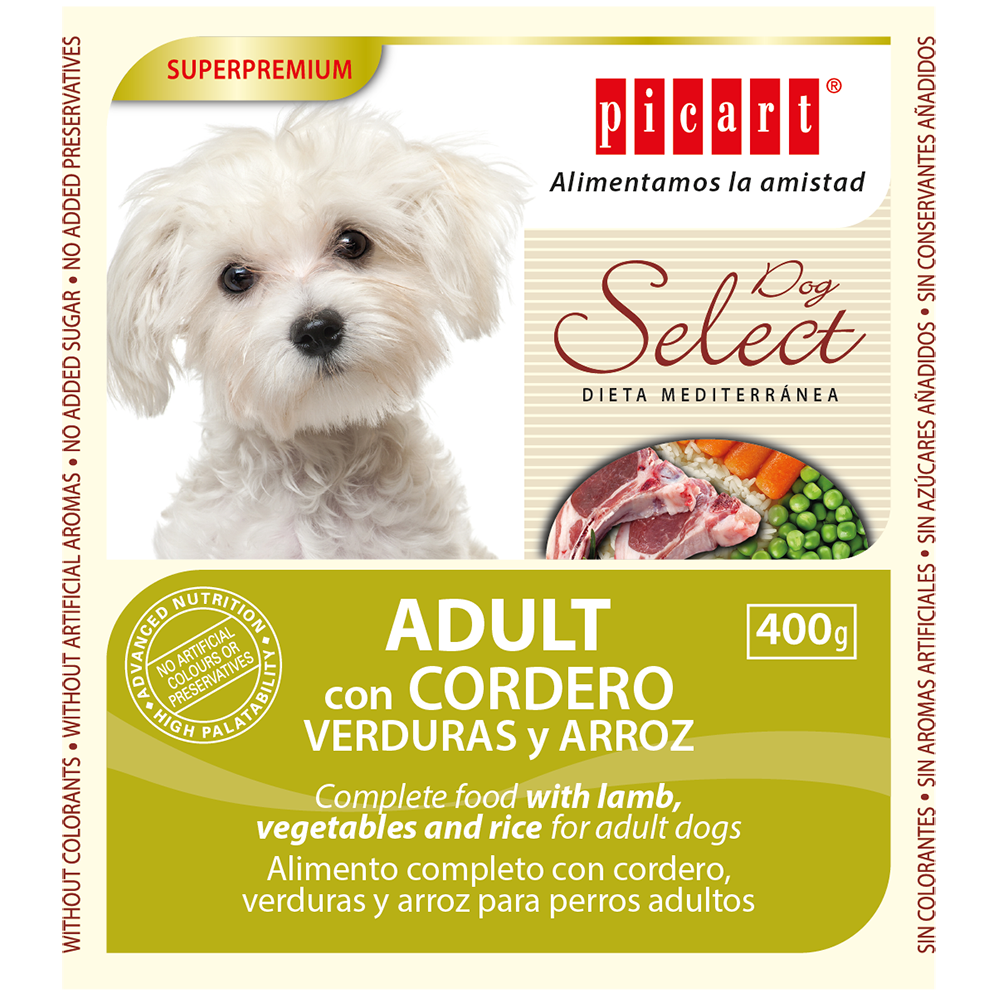 Lata Select Adult Dog Cordero, Vegetales y Arroz