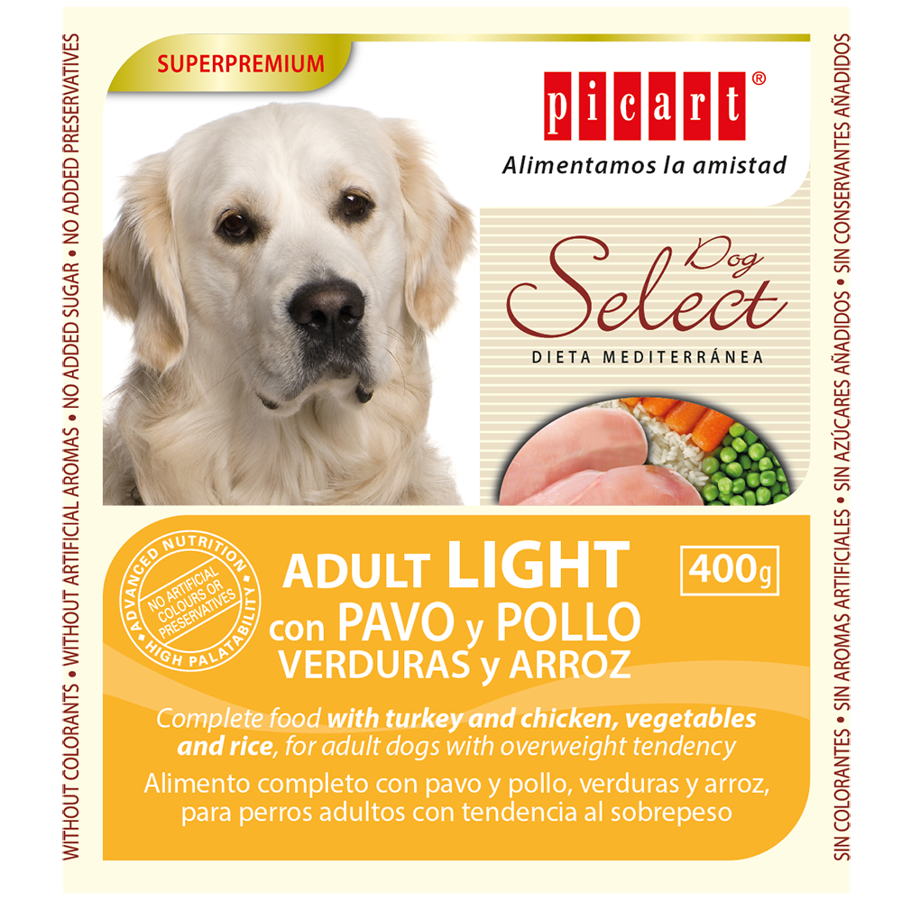 Lata Select Adult Dog Light con Pavo y Pollo, Verduras y Arroz