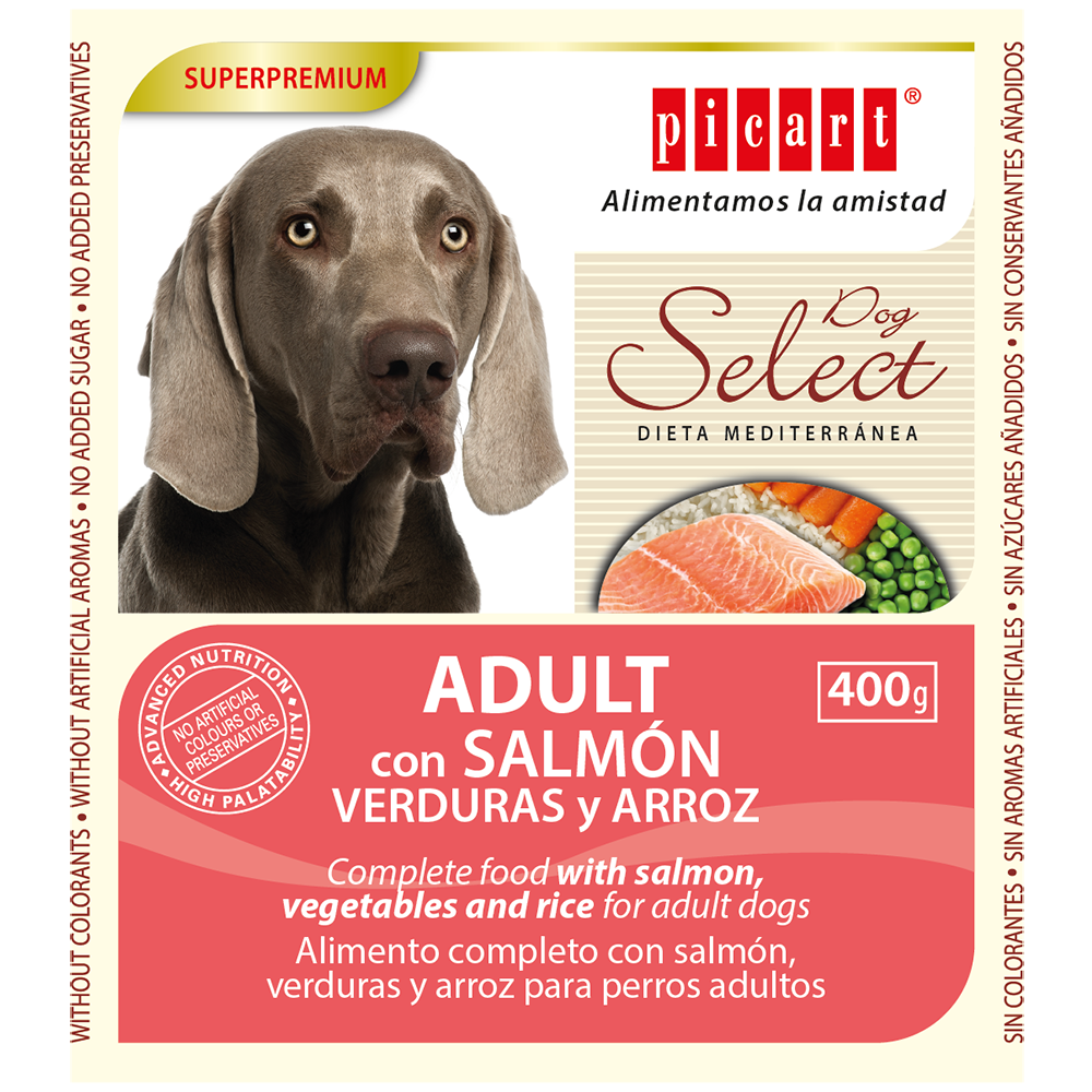 Lata Select Adult Dog Salmón, Vegetales y Arroz